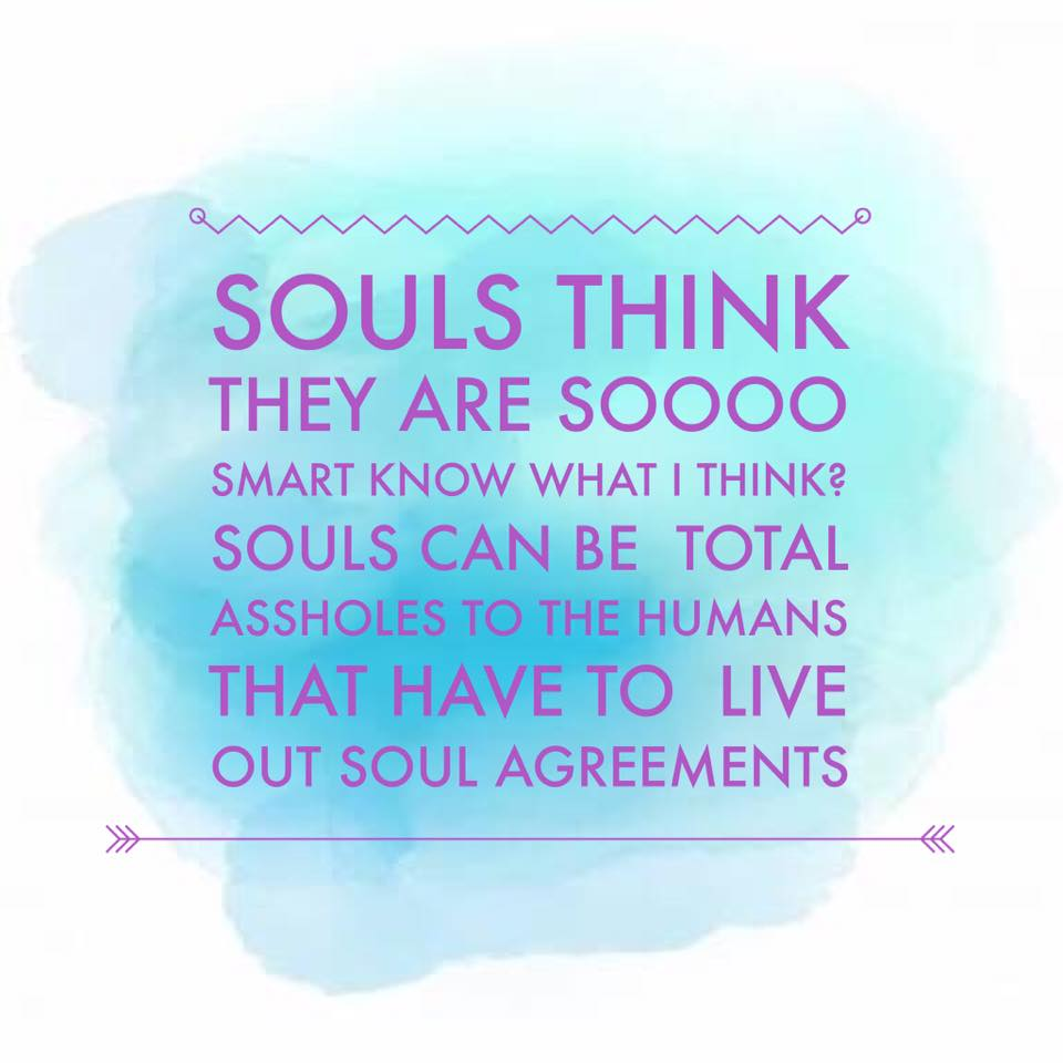 """Souls think they're sooooo smart. Know what I think? Souls can be total assholes to the humans that have to live out soul agreements."""